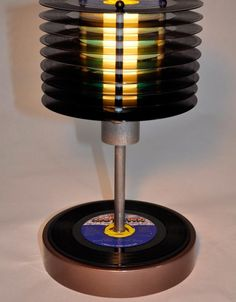 reusing vinyl records into nightstand lamp diy room decor idea