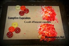 Campfire Cupcakes and Cake: Crush Lifesavers single colors at a time in a bagg Bonfire Cake, Campfire Cupcakes, Campfire Cake, Funny Birthday Cakes, Birthday Sheet Cakes, Cowboy Birthday, Cowboy Party, Wild West Party, Pokemon Birthday