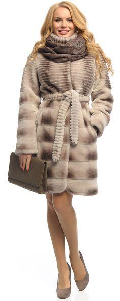 Шуба мех мутон, цвет серый , арт. 14403014 Зима