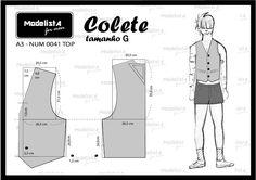 Pattern for top/vest Mens Sewing Patterns, Clothing Patterns, Fashion Sewing, Mens Fashion, Pattern Draping, Baby Girl Dress Patterns, Modelista, Jacket Pattern, Diy Dress