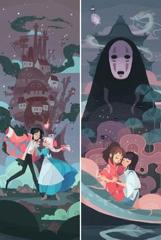 Howl and Sophie, Chihiro and Haku. Howl's Moving Castle and Spirited Away Anime Art, Illustration, Studio Ghibli Art, Drawings, Cute Art, Animation, Art, Anime Movies, Aesthetic Anime