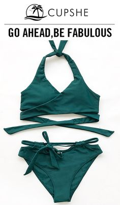 Light and cute! When it comes to Cupshe Jungle Magic Cross Bikini Set, charm is never in short supply. Halter design together with cross in green color are super elegant and make you the star of the beach. Free shipping & Shop now!