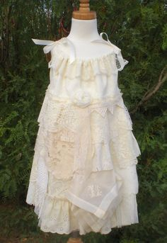 Lace Flower Girl Dress - Vintage Country Shabby Chic Flower Girl Dress - Sizes 6 - 7 Adjustable Top - Vintage Look - Ready to Ship