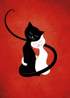 "cutestrangecreatures: "" New on - Cute cats cartoon illustration of two hugging cats - a white and a black cat - in love, on grunge textured vibrant red background. (via White And Black Cats In Love (red) Art Print by Boriana Giormova Art Rouge, White And Black Cat, Black Cats, Photo Chat, Red Art, Cat Drawing, Cat Love, Crazy Cats, Cool Cats"