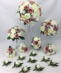 Cream Flowers, Flower Bouquet Wedding, Dusty Pink, Floral Wreath, Wreaths, Bridal, Dusty Rose, Flower Crowns, Door Wreaths