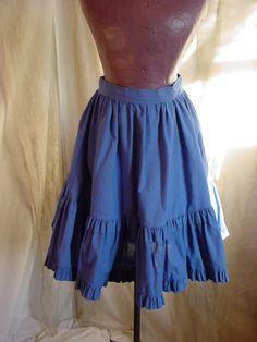 Vtg Blue Tiered Skirt Rockabilly Ruffled Square Dance size XS 21 inch length #Handmade Seller florasgarden on ebay