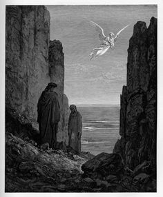 Purgatory: Angel of Peace indicating where to ascend. Creator: Doré, Gustave Date: c.1868