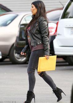 Kim and Kourtney Kardashian are rock chicks in leather jackets #dailymail