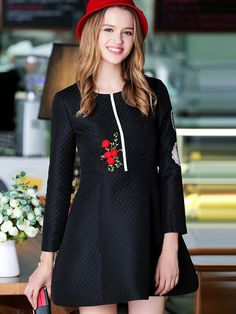 lack Round Neck Long Sleeve Embroidered Dress | victoriaswing
