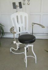 Vintage Medical Dental Examination Chair 1900's Cast Iron White Enamel Finish