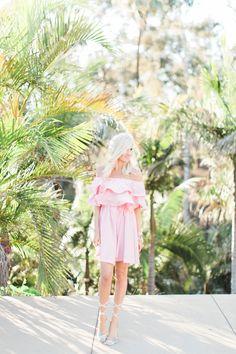 Pink Off The Shoulder Ruffle Dress - Mckenna Bleu