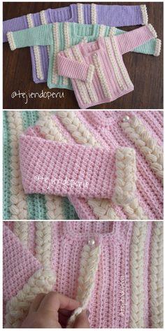 Chaqueta con trenzas de colores tejida a crochet. Vídeo tutorial del paso a paso
