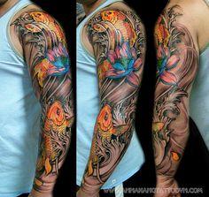 Full Arm Koi Fish Tattoo Design