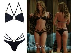 Naomi wore this Agent Provocateur black bondage style bikini with plaited straps in episode 2 of season 5 of 90210.  Agent Provocateur Kristie Bikini Top - $270  Agent Provocateur Kristie Bikini Brief - $220