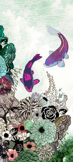 canvas print japanese art Long painting  Fish art by lizkapiloto, $45.00