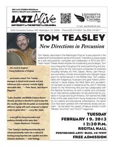 "Tom Teasley: New Directions in Percussion Tuesday, February 19, 2013 12:30 PM  Tom Teasley, described in the Washington Post as ""a percussionist in the widest and most exuberant sense of the word,"" maintains a unique career as a solo percussionist, composer and educator. A 2010 and 2011 Helen Hayes Theater Award recipient for outstanding sound design, Teasley will present a lecture/demonstration on New Directions in Percussion. Recital Hall (Performing Arts Bldg. 46-West)."