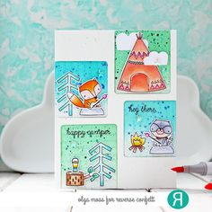 Card by Olga Moss. Reverse Confetti stamps and Confetti Cuts: Greatest Adventure.