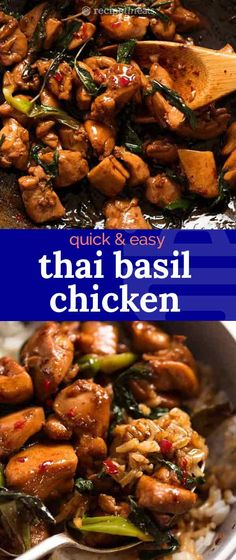thai recipes Thai Basil Chicken is arguably the gold standard of Thai Chicken stir fries! An incredibly fast and easy Thai recipe that truly tastes just as good as youll get at your favourite restaurant. BONUS: No hunting down unusual ingredients! Easy Thai Recipes, Gourmet Recipes, Dinner Recipes, Cooking Recipes, Healthy Recipes, Thai Basil Recipes, Thai Chicken Recipes, Chicken Recipes Video, Korean Recipes