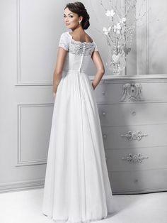 0ae817285a A-Line Princess Short Sleeves Bateau Lace Chiffon Floor-Length Wedding  Dresses Sukinie