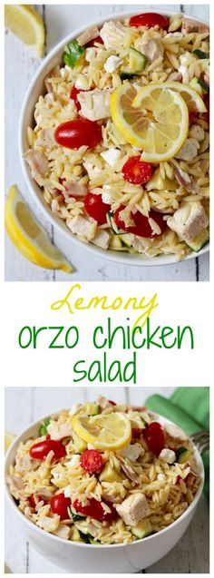 Lemony orzo chicken salad with tomatoes, zucchini and goat cheese - a 15-minute dinner! | http://FamilyFoodontheTable.com