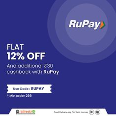 Order food in train from #RailRestro using your #RupayCard and get flat 12% off and additional ₹30 cashback! 👉 Follow RailRestro for Food, Travel, and Indian Railways updates! 📲 Download RailRestro App to Order Food in Train #railrestro #orderfoodintrain #ecatering #railrestroapp #foodorderingapp #discount #Offer #discountonfood