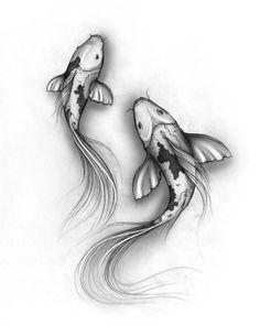 Resultado de imagen para pen drawings fish koi