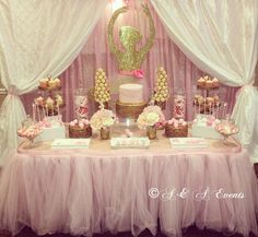 Pretty pink and gold ballerina baby shower party! See more party planning ideas at CatchMyParty.com!