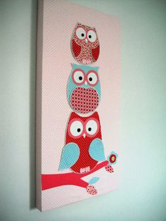 Owls canvas decor picture/wall decall print child/baby girls bedroom nursery