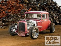 """Dick Rash's 1930 Ford Model A coupe started out as a bet. """"I bet him that he couldn't build a car without going overboard, Ford Mustang 1969, Ford Mustang Convertible, Hot Rod Trucks, Lifted Ford Trucks, Classic Hot Rod, Classic Cars, Mercury Cars, Traditional Hot Rod, Us Cars"""