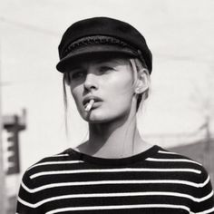 braided cap, eyeliner & striped knit #style #fashion #stripes