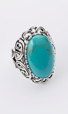 Turquoise Oval Stone Filigree Sterling Silver Ring