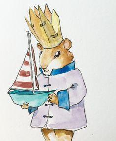 Ginger Small, boat, paper hat, illustration, watercolor, kidlitart