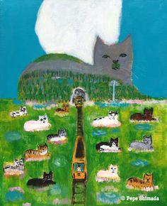 "Pepe Shimada Paitings: ""Cat mountain and Cats Paradise"" A. Feeling Down, Cat Art, Animals And Pets, Paradise, Cartoons, Illustration Art, Canvas, Happy, Humor"