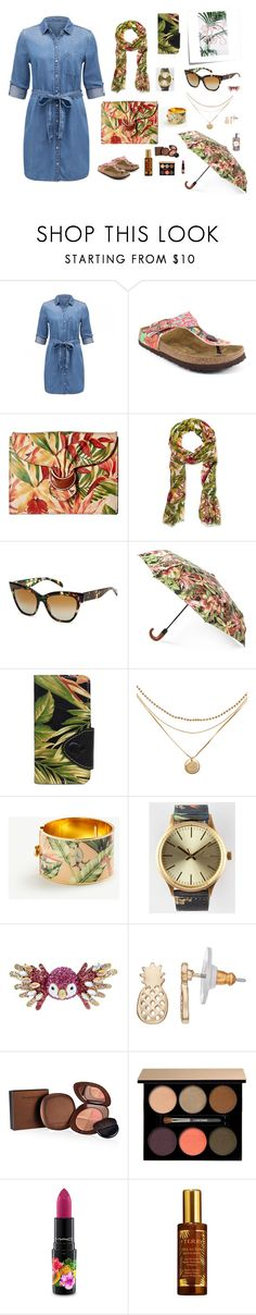 """Tropical denim"" by fernandaalmeida-1 on Polyvore featuring Post-It, Papillio, Patricia Nash, SALT., Ann Taylor, Plus, Betsey Johnson, LC Lauren Conrad, Elizabeth Arden and Lancôme"