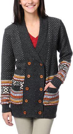Stussy Girls Fair Isle Charcoal Knit Cardigan Sweater at Zumiez : PDP