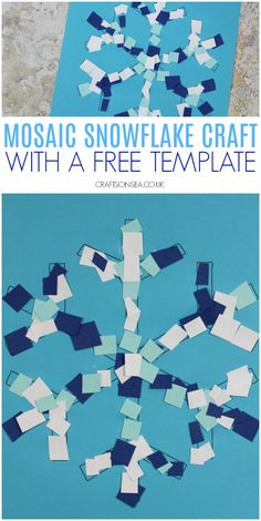 mosaic snowflake craft for kids #kidscrafts #wintercrafts