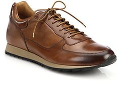 New York Sheridan Burnished Leather Sneakers