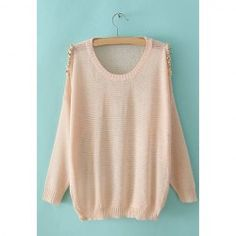 $15.37 Solid Color Stud Decorated Off-The-Shoulder Long Sleeve Sweater For Women