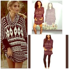 FREE PEOPLE Oversized Boyfriend Loose Knit Sweater NWT SOLD OUT COLOR MAROON COMBO  Cozy PERFECTION  Free People Sweaters Shrugs & Ponchos