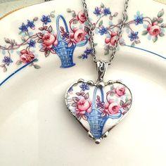 Broken China Jewelry heart pendant by dishfunctionldesigns on Etsy