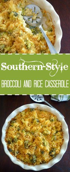 Southern Broccoli and Rice Casserole is a Southern favorite in our home and one of our most beloved recipes passed down from one generation to the next; made with long grain rice, fresh never frozen broccoli, sautéed Vidalia onions, white sharp cheddar, mild yellow cheddar, sour cream, low sodium vegetable broth, and topped with seasoned bread crumbs before being baked to perfection.