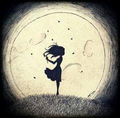 рисунок девушка луна - Поиск в Google