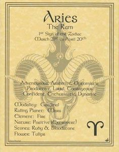 Aries Zodiac Book of Shadows Page or Poster Wicca | eBay: