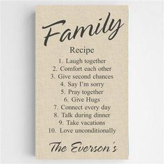 Family Recipe Canvas Sign Free Personalization – www.GiftsEngraved.net