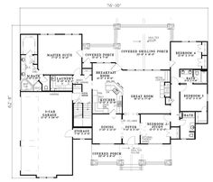 First Floor Plan of Craftsman   Ranch   House Plan 82222  Change laundry into a closet, and put laundry where the staircase is.