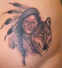 grey wolf native american tattoo