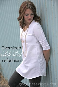 Oversized White Shirt Refashion - this shirt is stretchy on top and linen on the bottom - so beautiful!