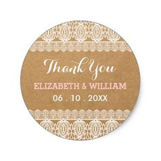 Lace Wedding Thank You Rustic Lace & Paper Wedding Thank You Pink Classic Round Sticker
