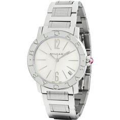 Bulgari BVLGARI BVLGARI Automatic 33mm bbl33wssd Watch ($3,900) ❤ liked on Polyvore featuring jewelry, watches, stainless steel, bulgari jewelry, bulgari jewellery, bulgari, logo watches and bulgari watches
