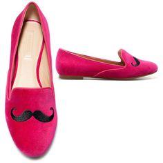 Zara Mustache Slipper ❤ liked on Polyvore